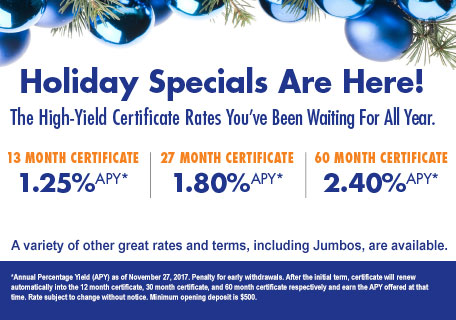 Holiday Certificate Specials