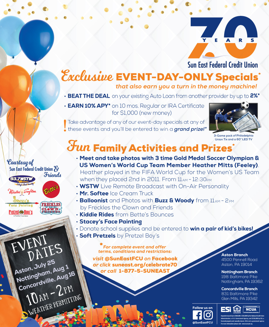 join us in celebration of 70 years sun east federal credit union sun east federal credit union