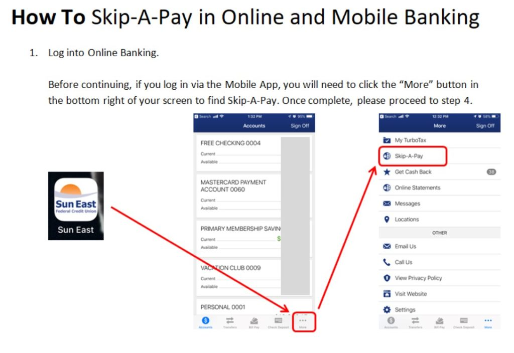 how to skip a payment in online and mobile banking