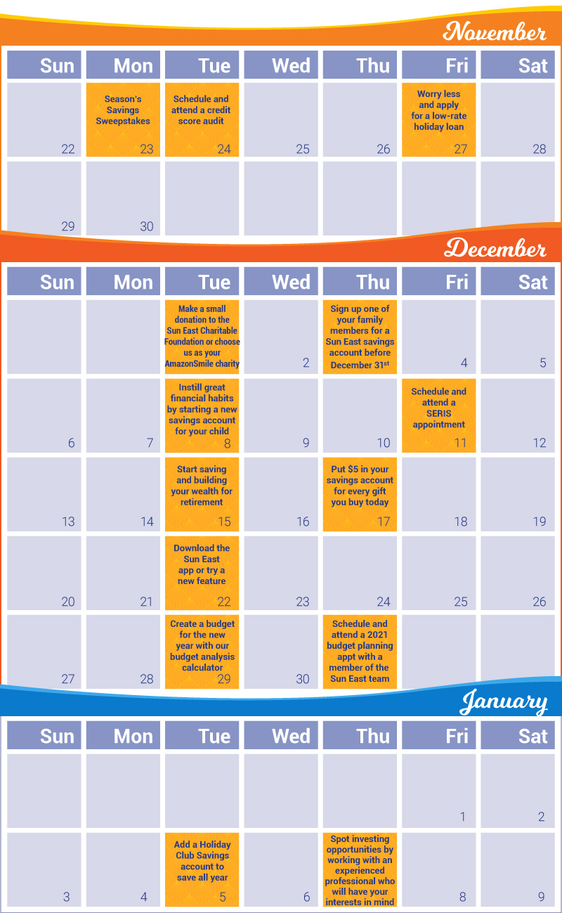Sweeps Calendar November - January