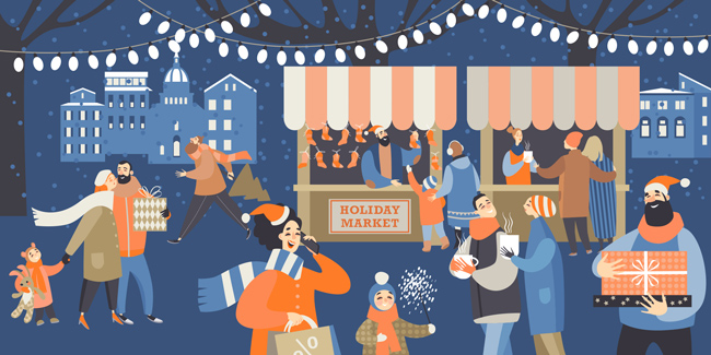 Holiday Market shoppers